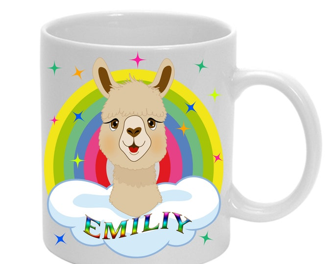 Alpaca cup with stars rainbow + name