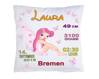 Fairy Birth pillow with your own data