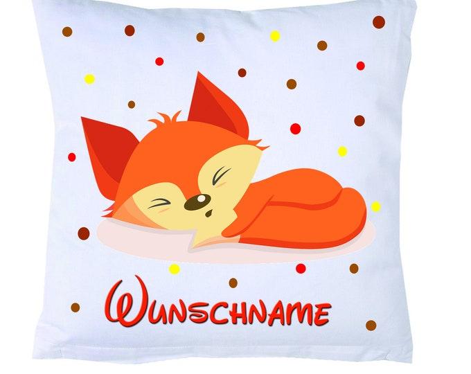 Cuddly pillow FUCHS lying + name children's pillow FOX