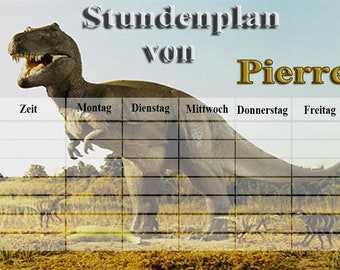 Timetable Dino Personalized wipeable A4
