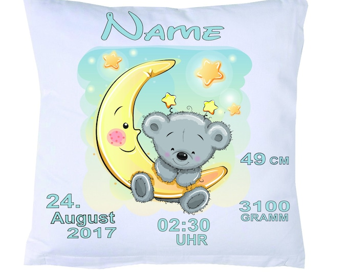 Baby birth pillow with your own dates + filling