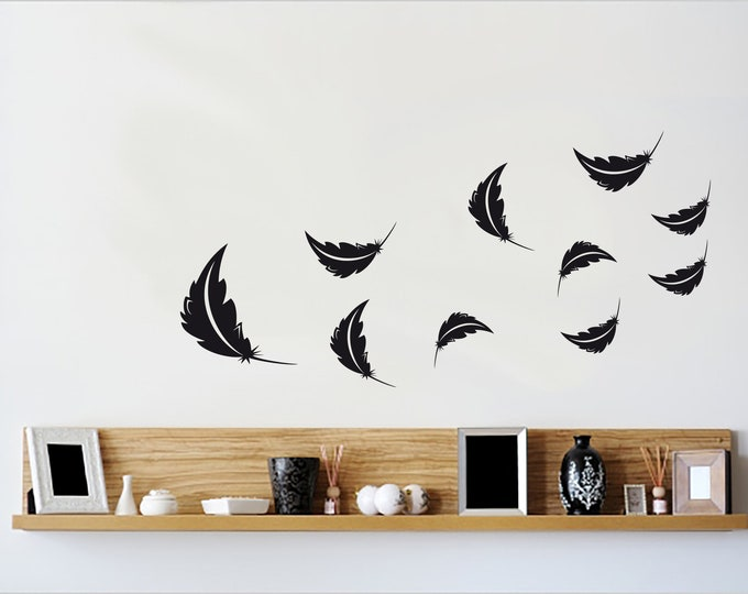 Wall decal deco feather 10-set - color selectable 30 colors to choose from