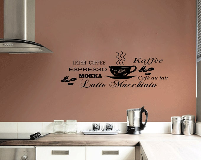 Wall Sticker Kitchen Coffee Espresso Mocha Latte macchiato