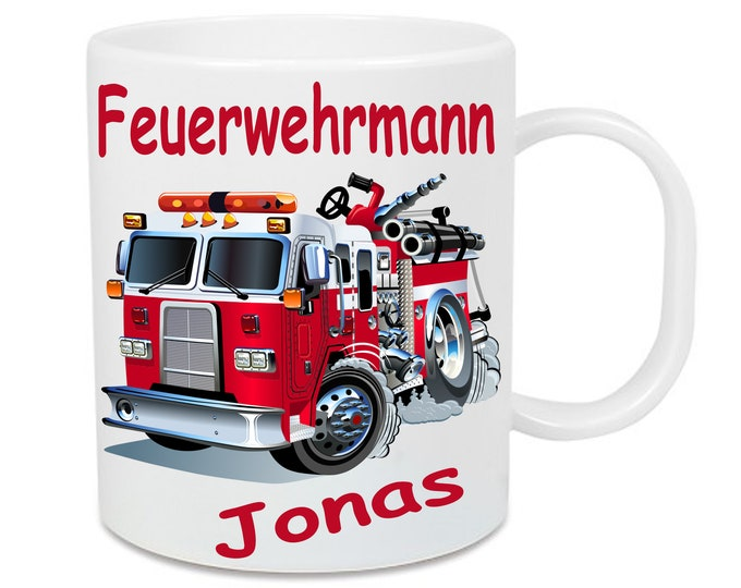 Cup made of plastic fire brigade firefighter + name