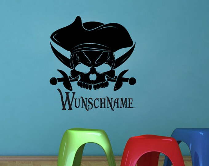 Wall Decals Sticker Skull Pirate Children's Room + wish name