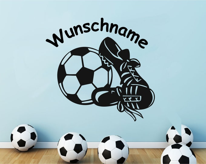 Walltattoo Wall Sticker Children's room with name soccer World Cup em