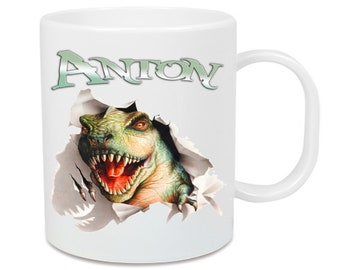 Plastic cup Dino T-Rex + name
