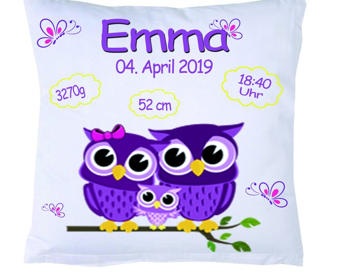 Owls birth pillow with your dates OWL