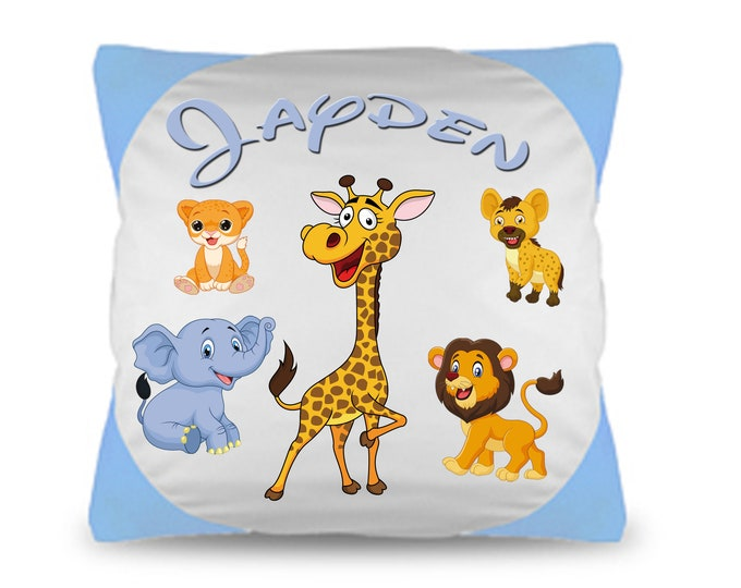 Cuddle pillow named Pillow zoo animals + Wish Name