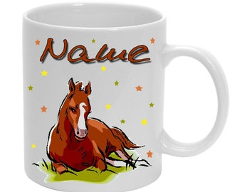 Cup of plastic horse + name