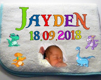 Cuddly soft photo Baby blanket with name + date of birth-blue