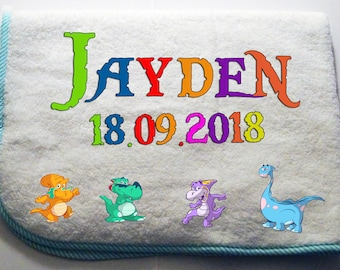 Cuddly soft baby Blanket with name + date of birth-blue