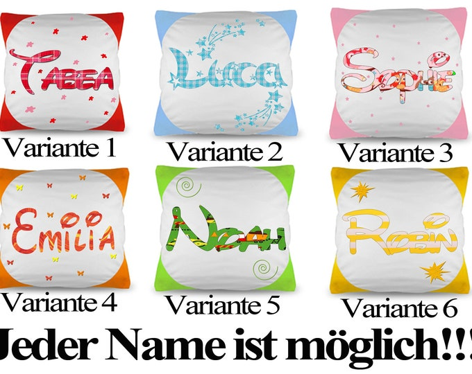 Name cushion Pillow Coloured in 6 variants PRICE --- SHORT