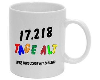 Birthday cup Of 1-100 with Age in Days