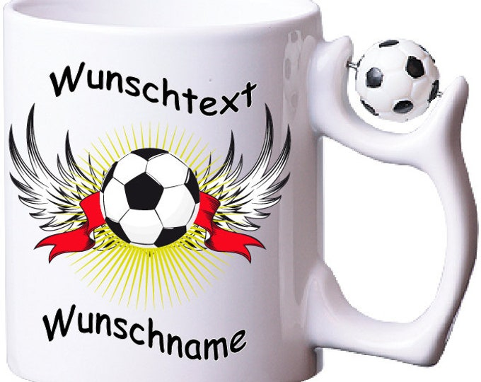 Cup with name football sport with desired text