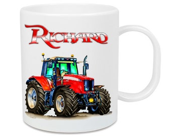 Plastic tractor cup + name