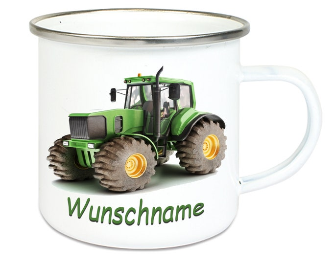 Emailletasse with silver stainless steel edge tractor farm + name