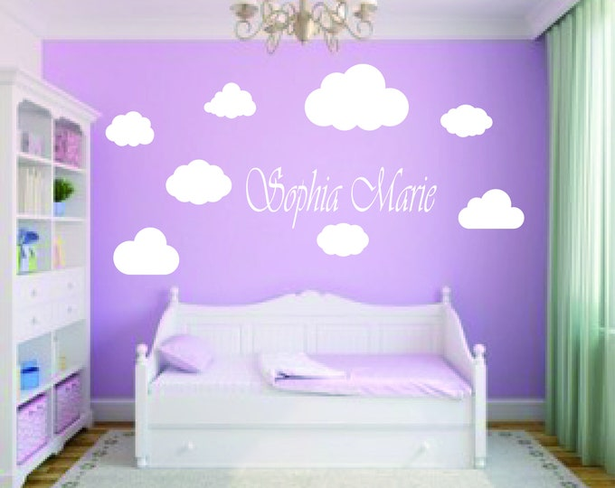 Wall Decals Children's room with names & clouds