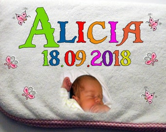 Cuddly soft photo Baby blanket with name + date of birth-Rosa