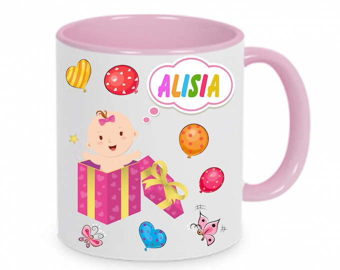 Mug named baby birth with name & Data girl