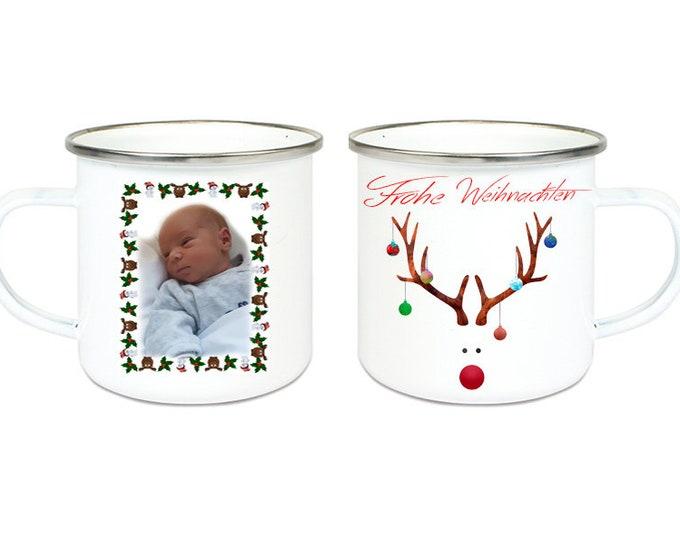 Enamel Mug Camping Cup Motif Reindeer & Photo Name Coffee Cup Gift