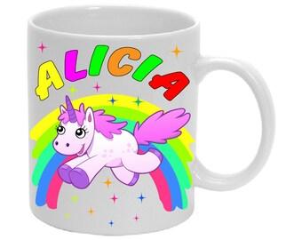 Mug with name Birthday Cup unicorn Rainbow