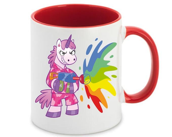 Mug named Unicorn Rainbow mg rifle against attack