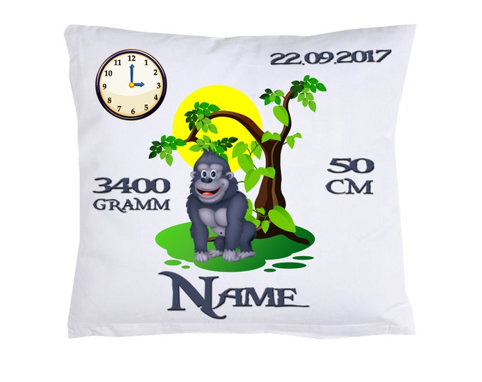 Gorilla birth pillow with own data
