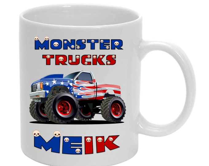 Kids cup with name Monstertruck yellow/red