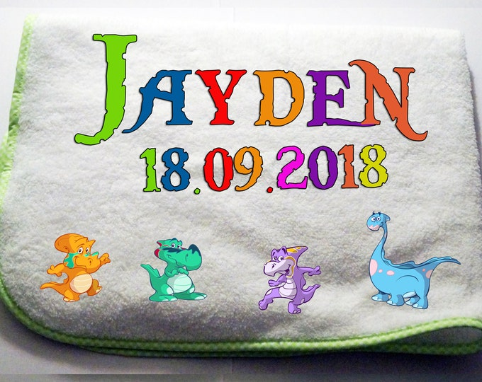 Cuddly soft baby Blanket with name + date of birth-green