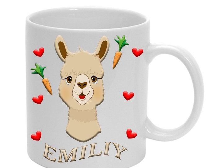 Alpaca cup with heart + name ceramic or plastic