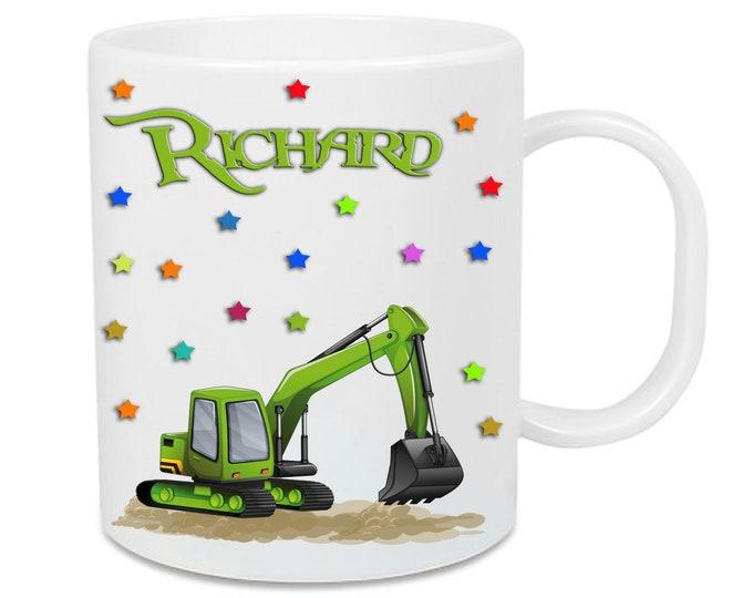 Plastic excavator cup + name/stars