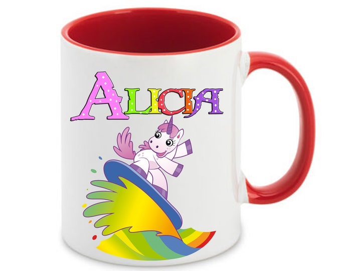 Mug named Rainbow Surfer Unicorn