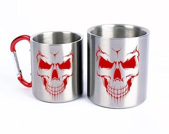 Stainless Steel Cup Skull Skull Carabiner Handle