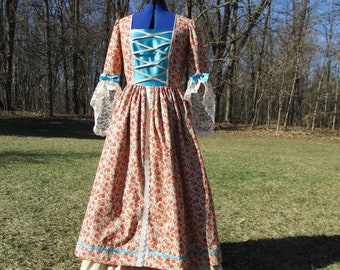 Ladies/' sz 12 38-39bust30-31waist Colonial Revolutionary War Day dress wcoordinate,side bustles Delft damaskcalico cotton-READY-TO-SHIP