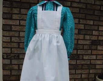 Ladies/' sz 26 Tea-dyed Cotton Prairie Bib apron crossover shoulder strap,1 pocket,Ma IngallsPioneerNannycook Downton Abbey-READY-TO-SHIP
