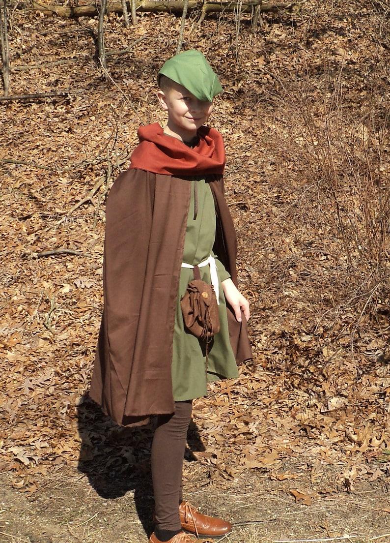 Peasants  cotton tunic,belt,cape Slouch hat /& Cowl--READY-TO-SHIP-Robin Hood Boys sz 56 Medieval  Robin Hood