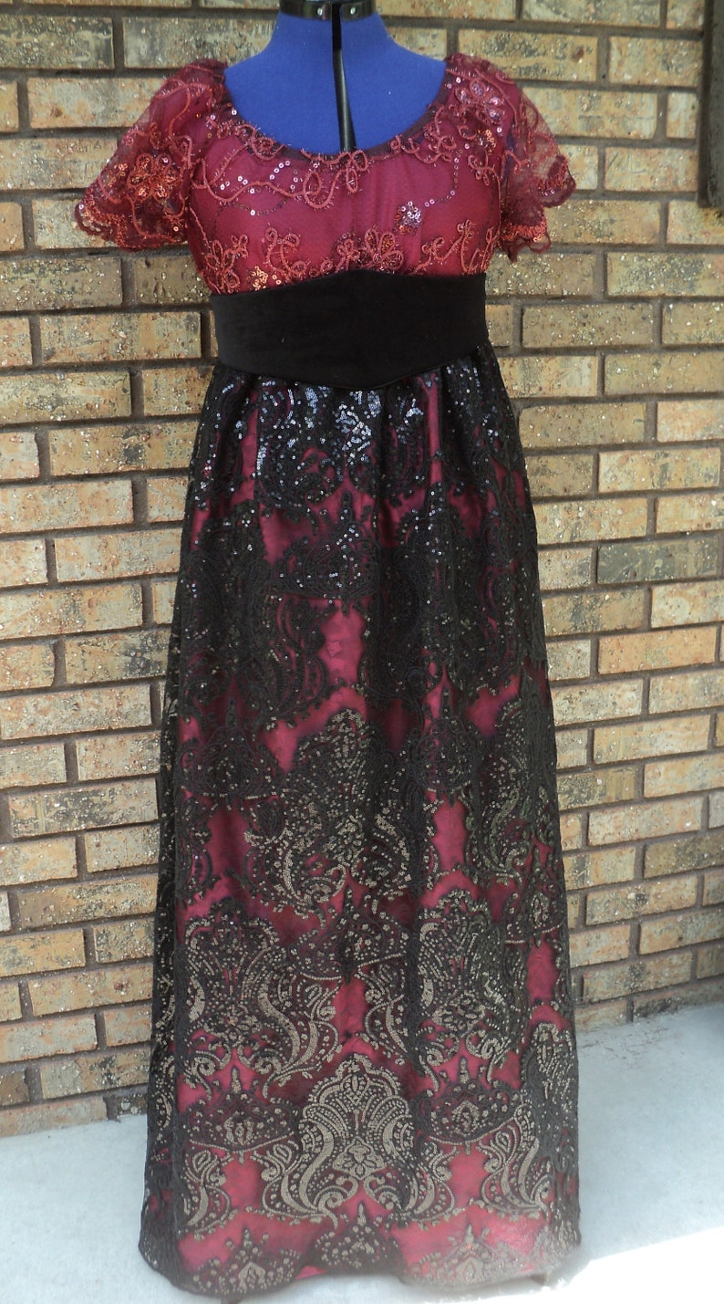 Holiday evening gown READY-TO-SHIP 36 bust Ladies/' Titanic Era Bourdeaux Satin gown w sequined lace overlay /& velveteen belt Rose Sz 6