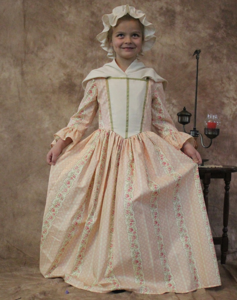 Sz.14 Girl/'s Colonial  1700/'s 18th Century Floral striped American Girl Day dress--Felicity -READY-TO-SHIP