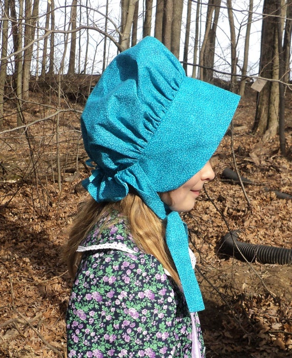 Girl's Sz 8/10 Teal Bud Print Cotton Calico Sun Bonnet Old Fashioned Pioneer Wild West Laura Ingalls Wilder Costume Hat Ready To Ship by Etsy