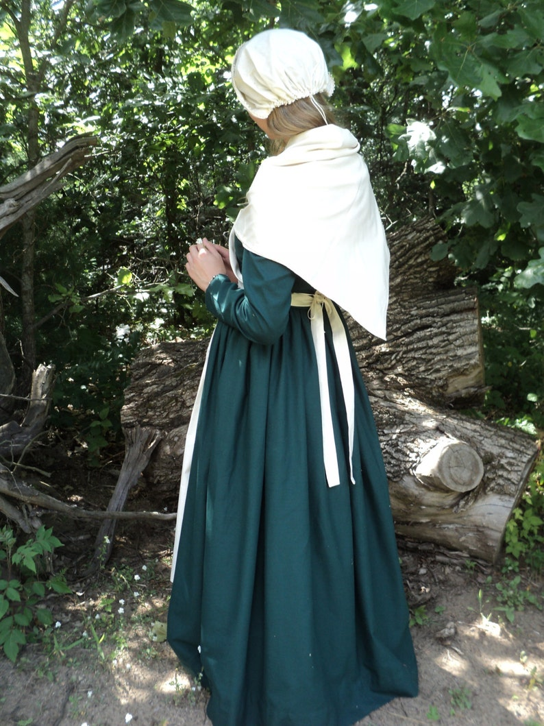 sizes 68 White color Early AmericanColonial Women/'s 2-pc kerchiefCrossover shawl and apron set made of Cotton Muslin READY-TO-SHIP
