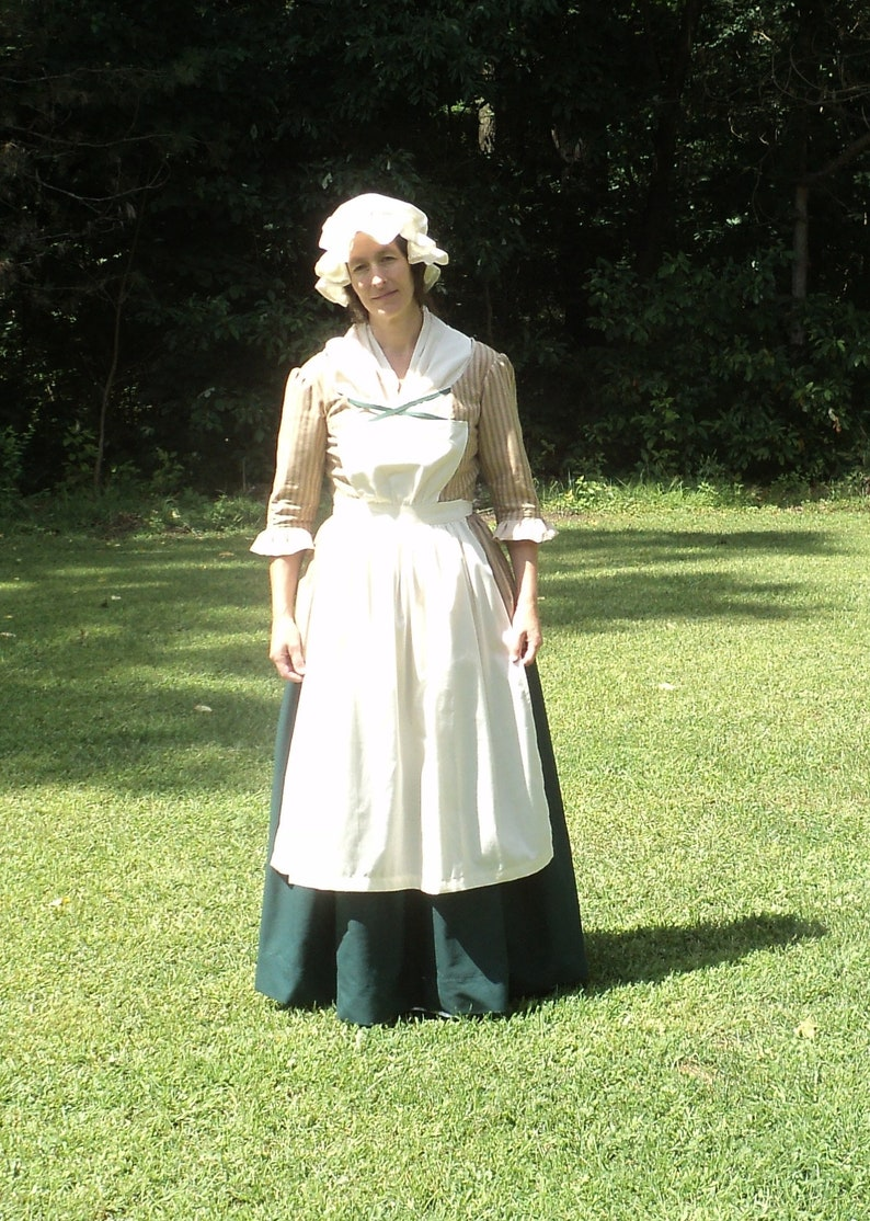 Sz Medium 30-32 waist ColonialCivil WarFrontierRenaissance Natural color Cotton Muslin pinner apron olden-days accessory-READY-TO-SHIP