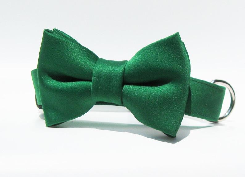 Green Dog Bow Tie Collar~Green Satin Bow Tie~Green Bow Tie Dog Collar~St Patricks Day Dog Collar~St Patricks Dog BowTie~St Patrick/'s Day Dog