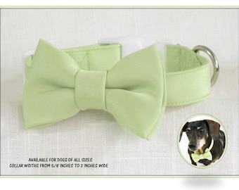 Wedding Dog Collar~Light Green Satin Bow Tie~Wedding Dog Attire~Dog Ring Bearer~Green Dog Bow Tie~Dog Bowtie~Green Bow Tie  Dog Collar~