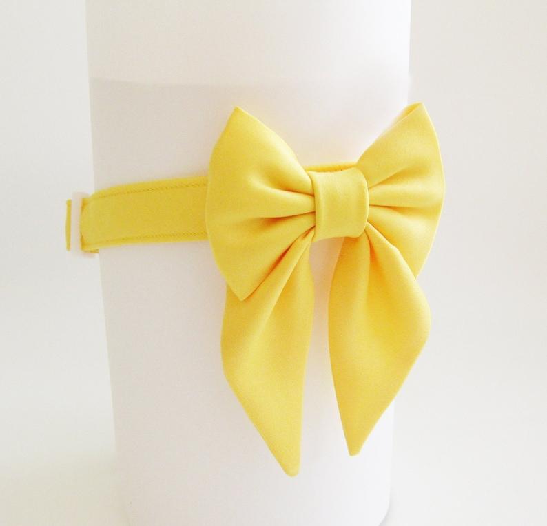 Girl Dog Collar Bow~Yellow Sailor Dog Bow~Wedding Dog Attire~Girly Dog Bow~Dog Wedding Collar~Dog of Honor~Wedding Party Dog~Yellow Dog Bow