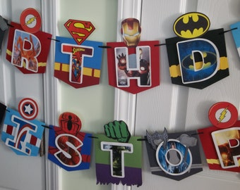 Superhero banner, birthday banner, superhero