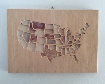 Wooden usa map   Etsy