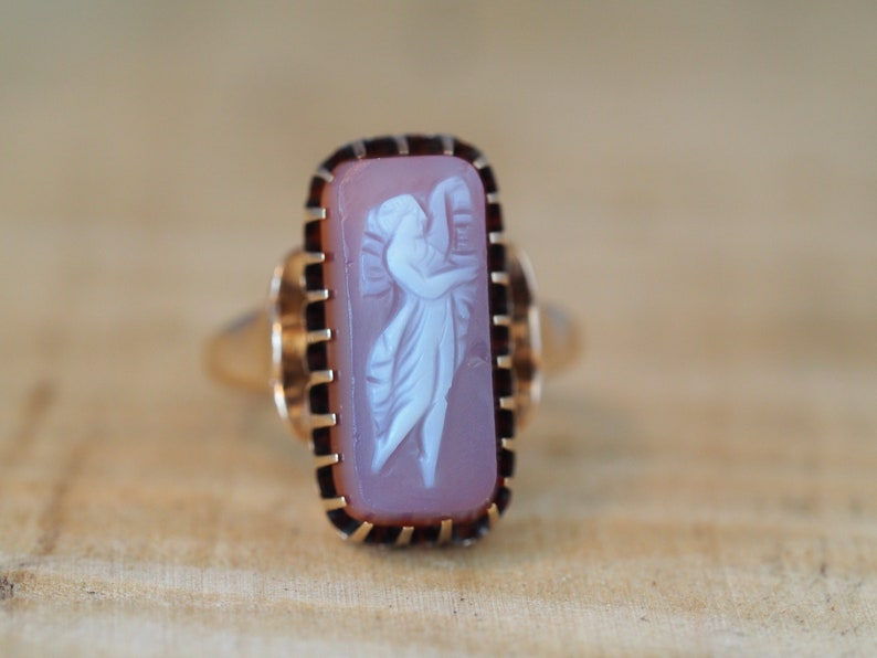 35953bd98 Antique Victorian Carnelian Hard Stone Cameo Ring in Rose Gold | Etsy