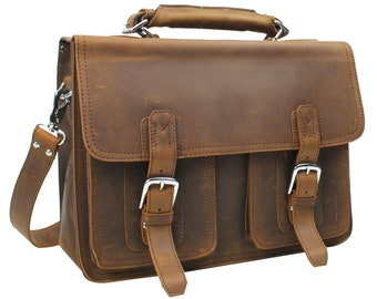 Free Customize Engrave Letters or Initials on 15 Full Leather Briefcase Laptop Bag LB77