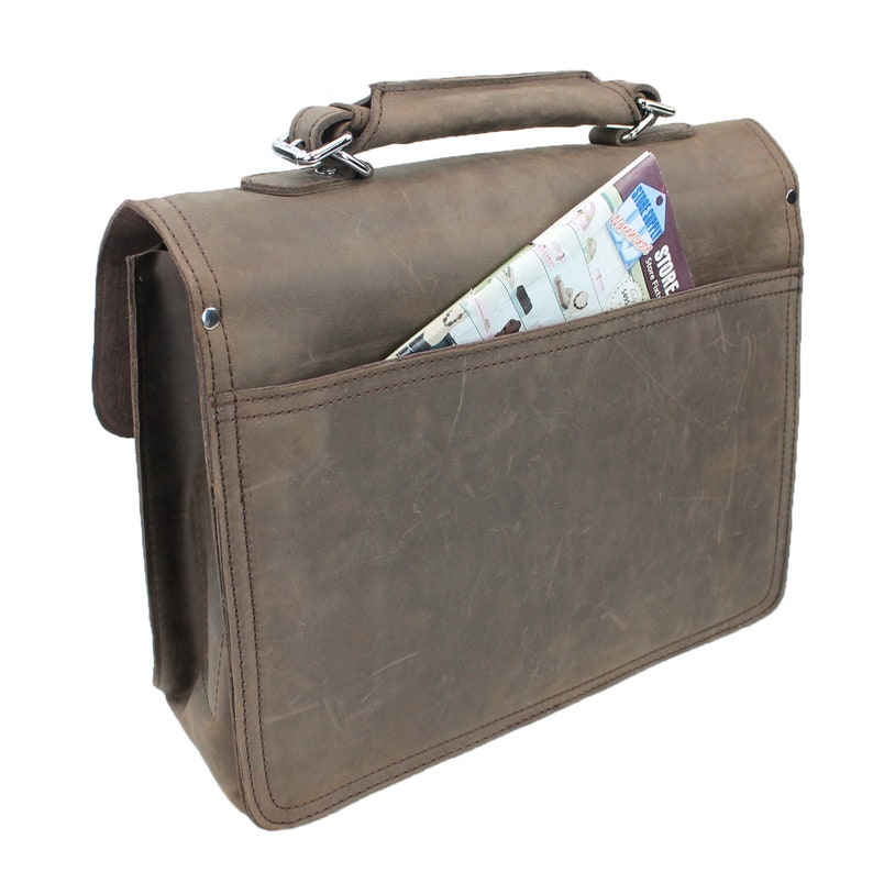 Free Customize Engrave Letters or Initials on 20 Super Large Full Grain Leather Briefcase Laptop Bag LB08